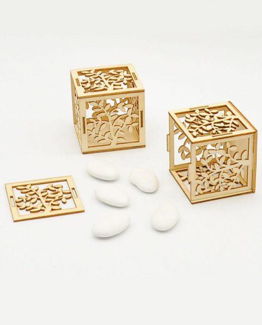 scatolina legno portaconfetti albero della vita