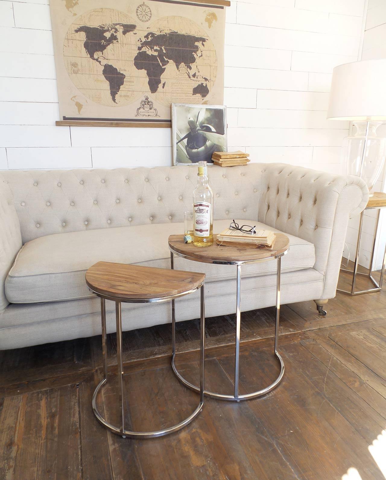 Tavolini da salotto brooklyn in legno e acciaio set 2 pezzi ...