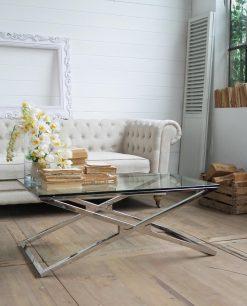 tavolino da salotto in vetro e acciaio