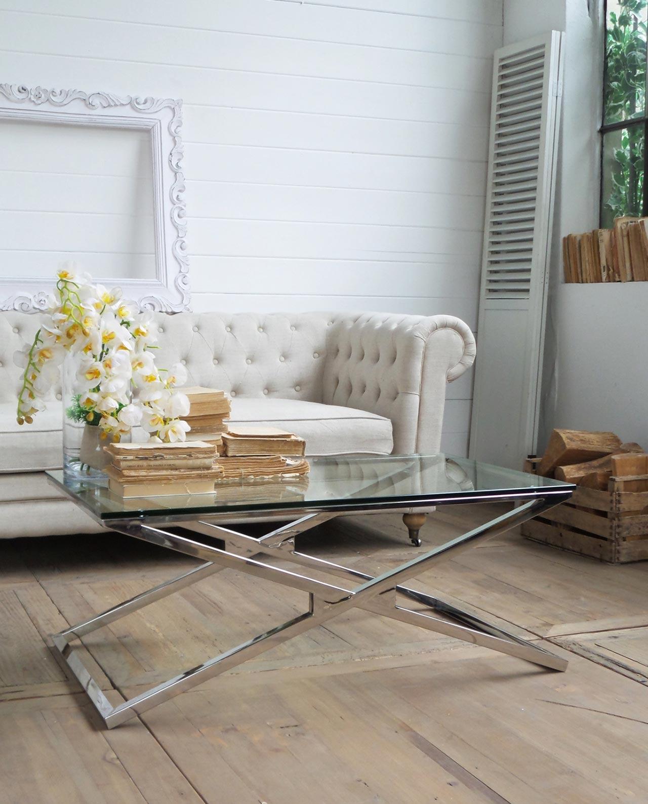 Tavolino da soggiorno manhattan in vetro e acciaio - Casa in acciaio e vetro ...