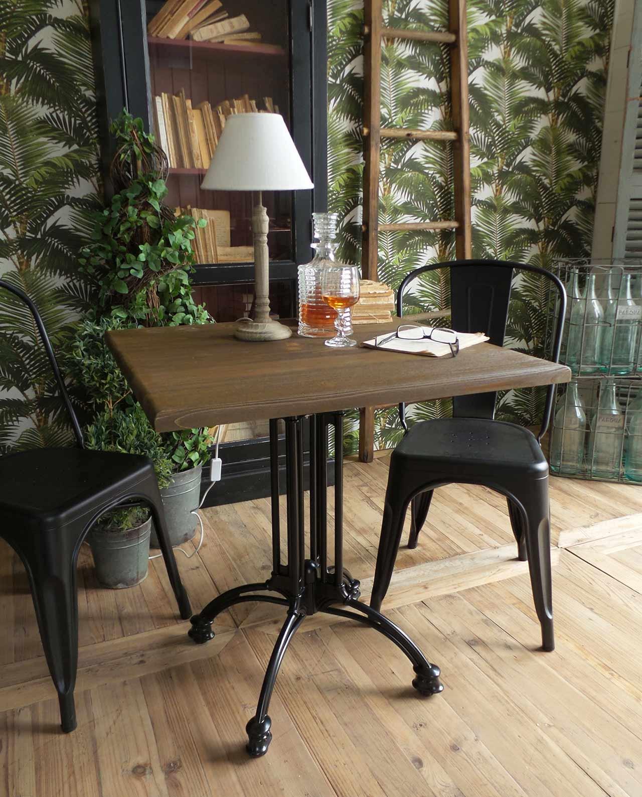 Tavolo quadrato legno e metallo stile industrial mobilia store home favours - Tavolo quadrato legno ...