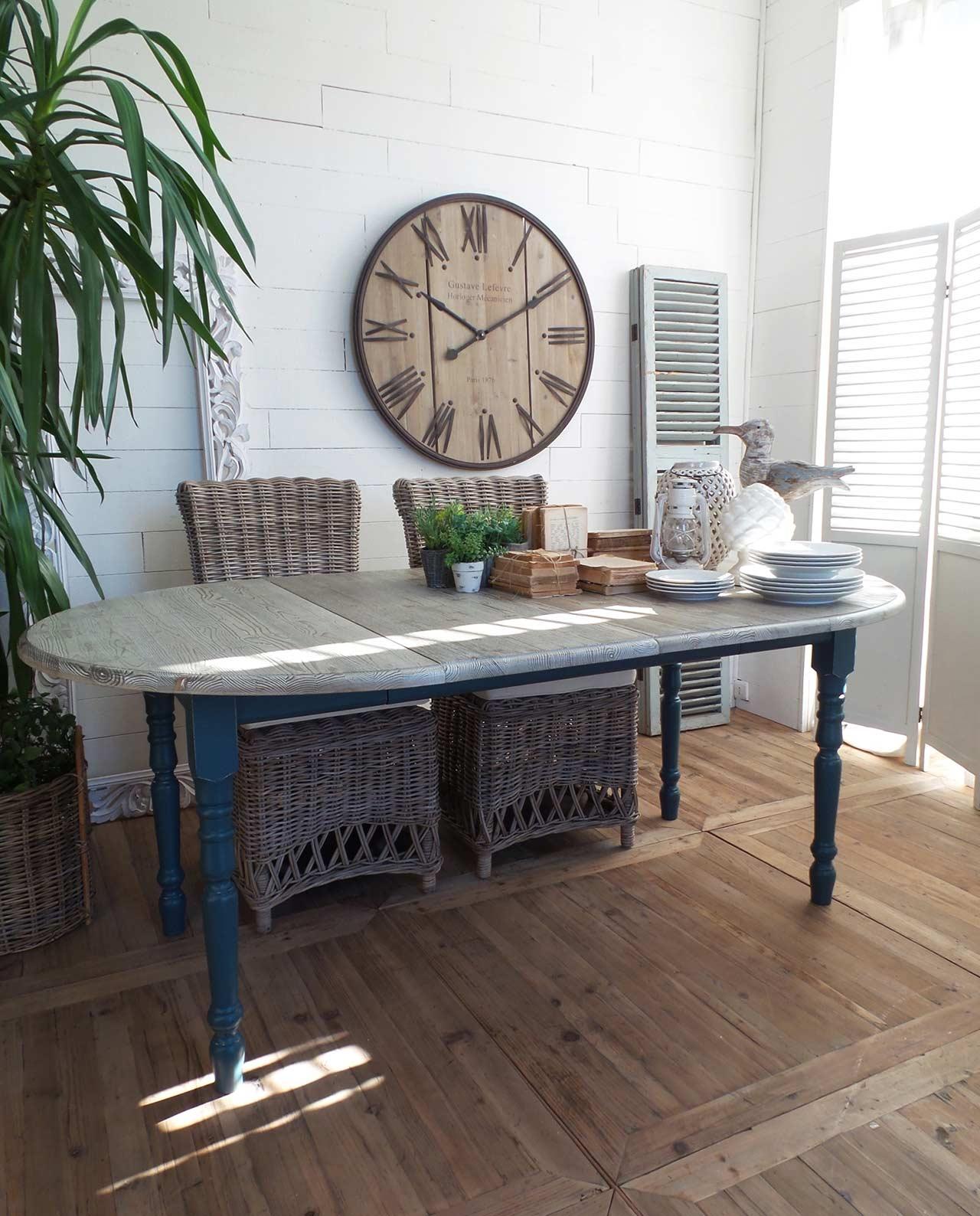 Tavolo allungabile in legno grigio blu mobilia store for Tavolo allungabile grigio