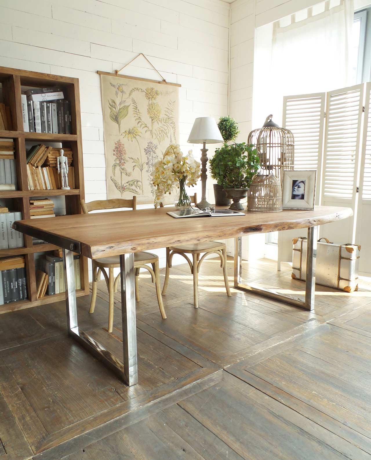 Tavolo rettangolare stile industrial mobilia store home favours - Piedi per tavolo in legno ...