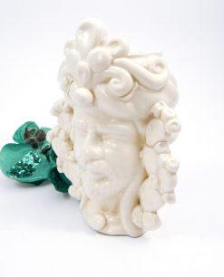 testa di moro bianca con fichi dindia ceramica artigianale di caltagirone