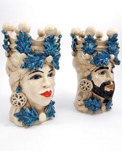 teste di moro ceramica artigianale di caltagirone con decori blu