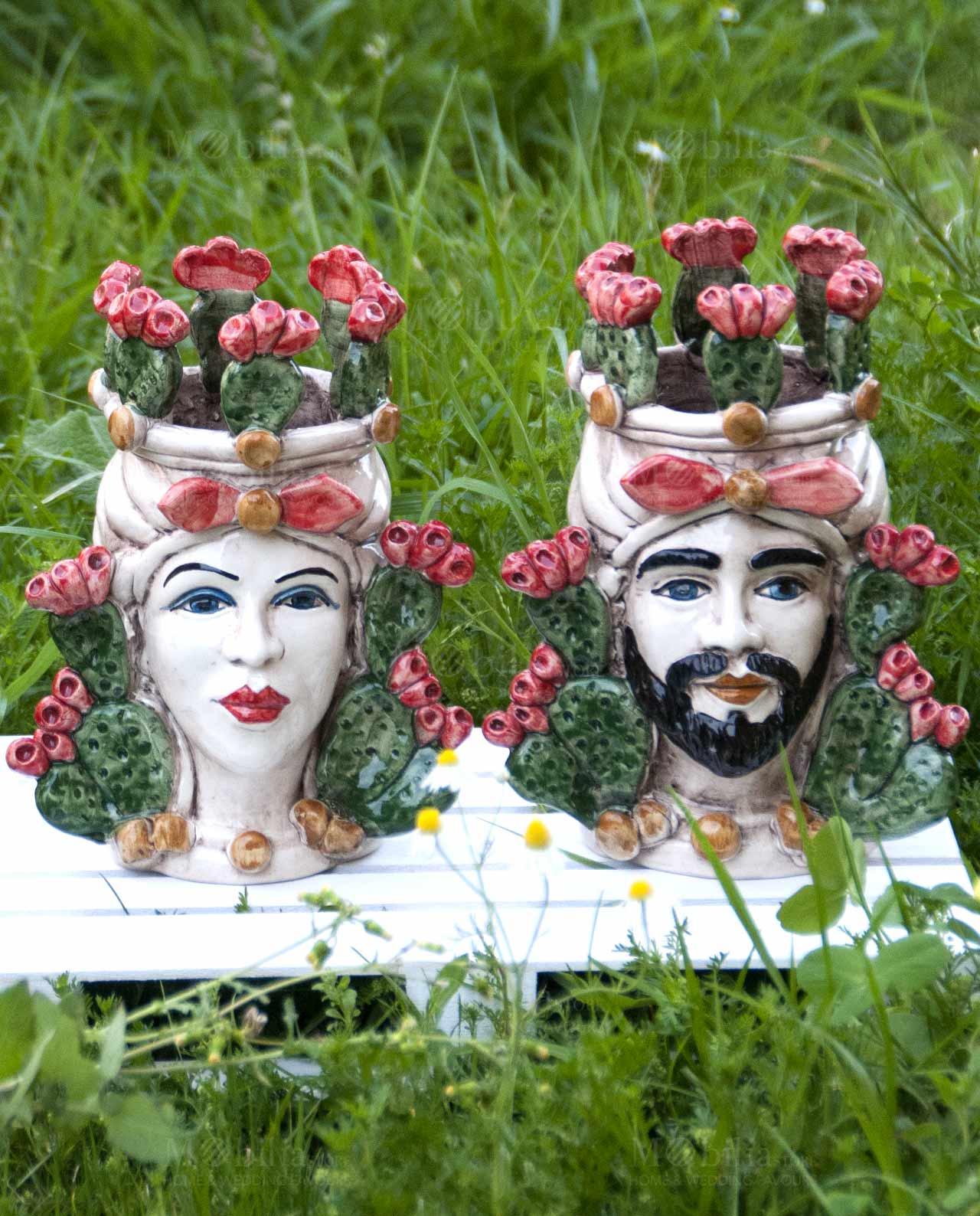 Teste di moro con fichi d 39 india ceramica di caltagirone for Il fico d india rural chic
