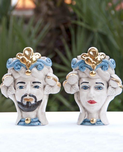 teste di moro in ceramica di caltagirone dipinta a mano con blu e oro zecchino