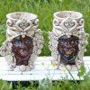 teste di moro re e regina in ceramica antichizzata di caltagirone
