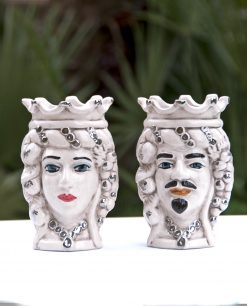 teste di moro re e regina in ceramica di caltagirone con oro bianco