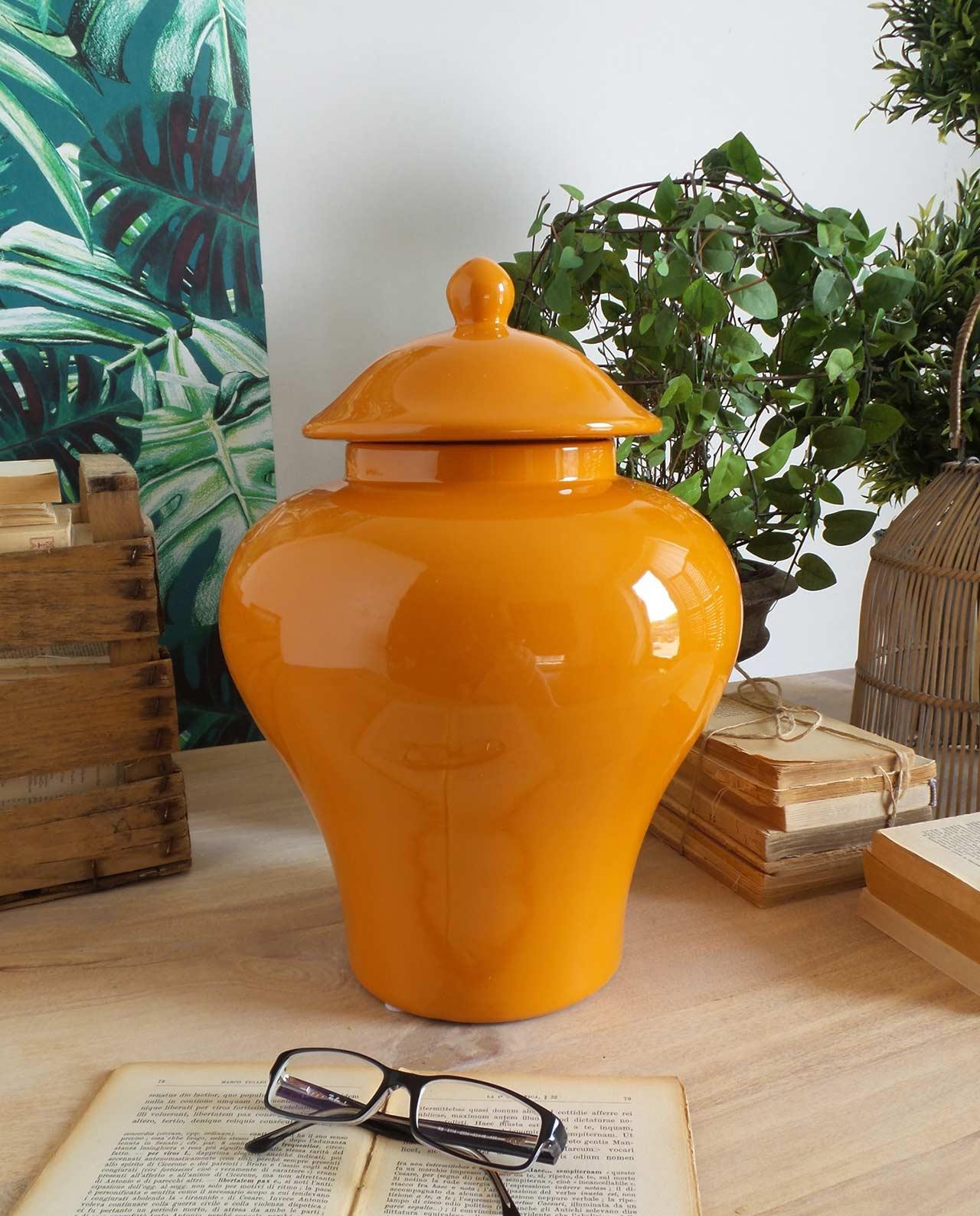 Vaso potiche luxury con coperchio in ceramica arancione - Mobilia ... 896b0fa3e94