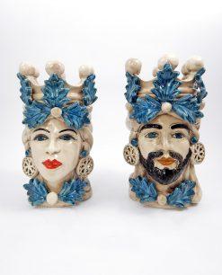 vaso testa di moro re e regina ceramica di caltagirone con ruote di carretto