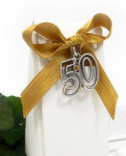 bomboniera 50 anniversario con ciondolo in argento tabor