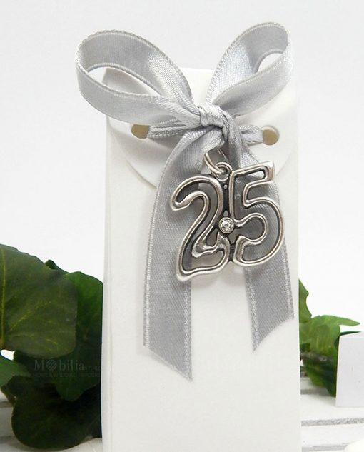 bomboniera anniversario di nozze con ciondolo argento numero 25 tabor