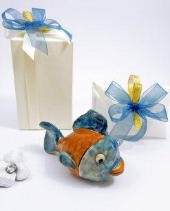 bomboniera artigianale pesce da appoggio colorato in ceramica di caltagirone