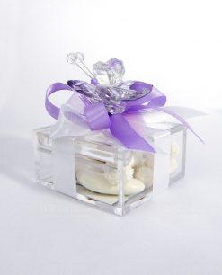 bomboniera battesimo bimba farfalla in cristallo rosa tufano
