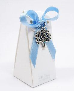 bomboniera battesimo bimbo con ciondolo albero argento con strass azzurro tabor