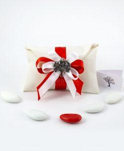 bomboniera ciondolo albero della vita microfusione placcato argento tabor su ssacchetto bustina fiocco bianco e rosso