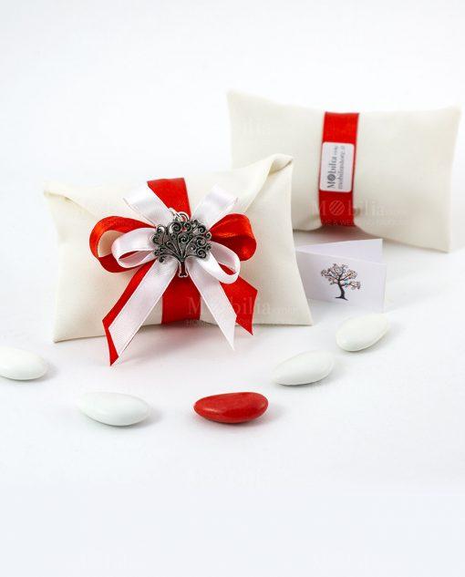 bomboniera ciondolo albero della vita microfusione tabor su sacchetto bustina con nastro bianco e rosso