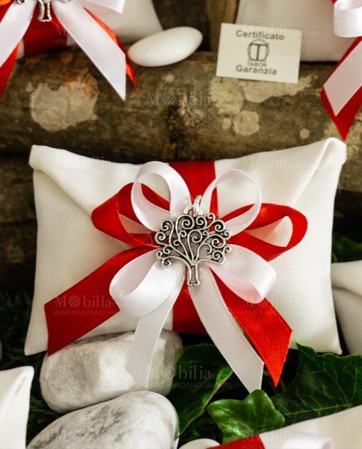 bomboniera ciondolo albero della vita tabor su sacchetto bustina fiocco bianco e rosso