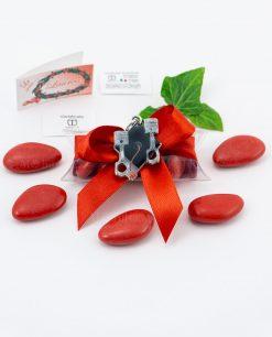 bomboniera ciondolo tocco nero con pistoni smaltato micrifusione tabor su tubicino fiocco e confetti rossi