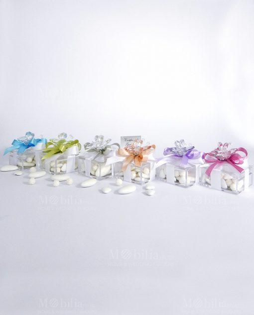 bomboniera compleanno farfalla in colori assortiti su scatolina tufano