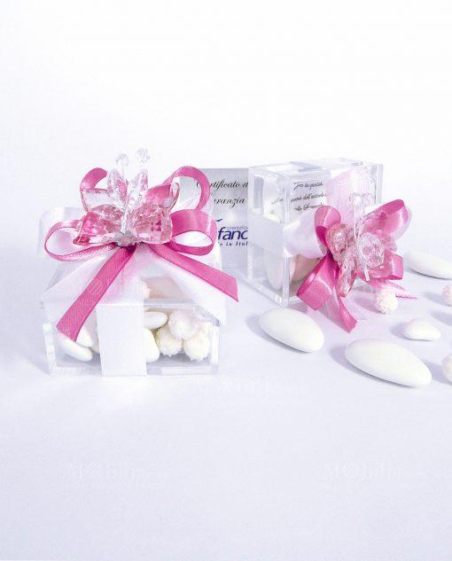 bomboniera compleanno farfalla in cristallo swarovski rosa con scatolina