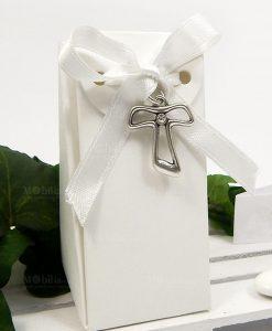 bomboniera comunione e cresima con ciondolo argento a forma di croce