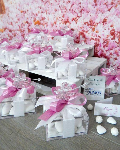 bomboniera farfalla cristallo swarosvki rosa su scatolina