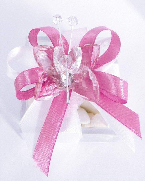 bomboniera farfalla in cristallo rosa tufano