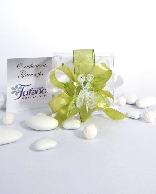 bomboniera farfalla in cristallo swarovski verde su scatolina trasparente
