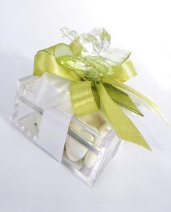 bomboniera farfalla in cristallo swarovski verde su scatolina tufano