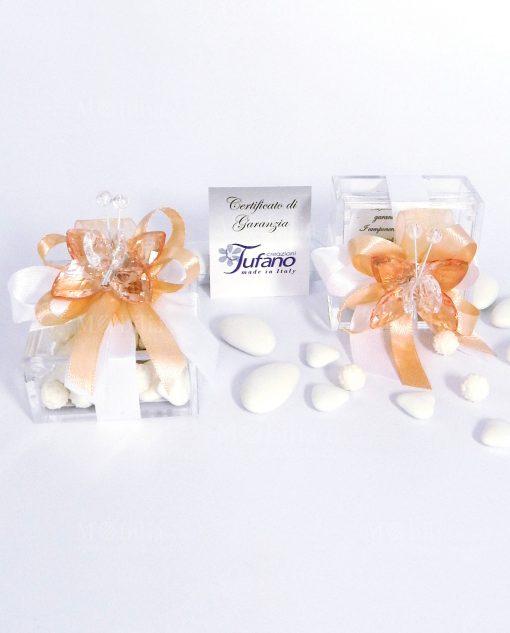 bomboniera farfalla pesca in cristallo con scatolina plexiglass tufano