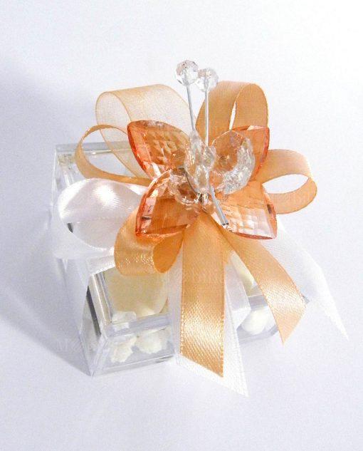 bomboniera farfalla pesca in cristallo swarovski tufano