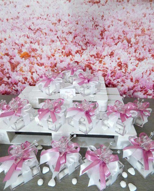 bomboniera farfalla rosa in cristallo