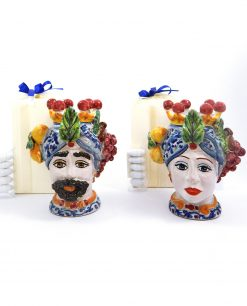 bomboniera matrimonio artigianale teste di moro con frutta siciliana