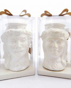 bomboniera matrimonio teste di moro bianche con corona liscia ceramica di caltagirone