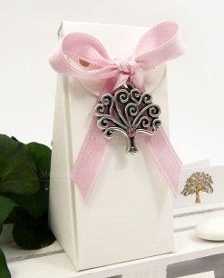 bomboniera nascita bimba ciondolo albero della vita con strass rosa Tabor