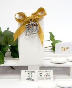 bomboniera ciondolo argento 50 su scatolina Tabor