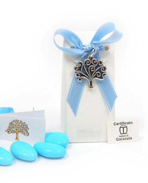 bomboniera online ciondolo albero della vita con pietra azzurra