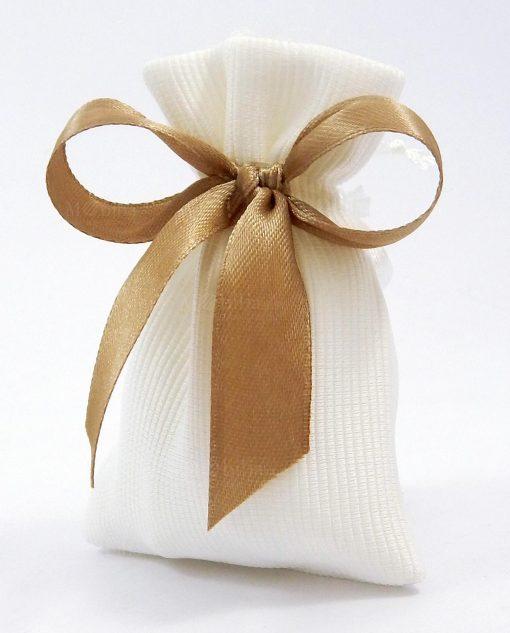 bomboniera sacchettino in raso bianco rigato