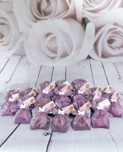 bomboniera sacchettino viola con farfalla rosa