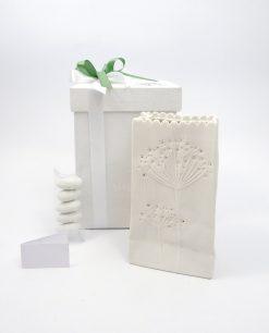 bomboniera vaso in ceramica bianca con luce led piccolo ad emozioni