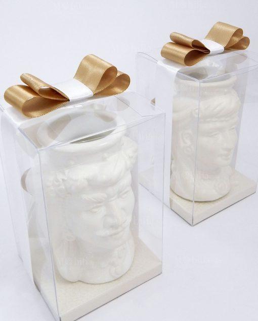 bomboniere artigianali di caltagirone teste di moro bianche con corona liscia