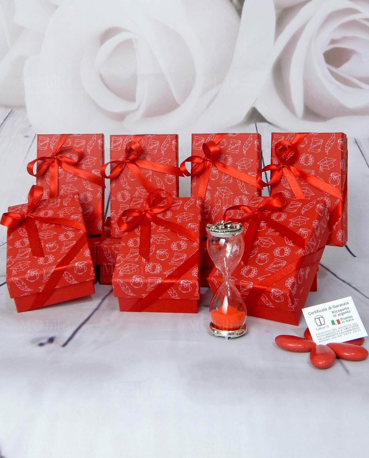 Bomboniera clessidre sabbia rossa decorata con pergamena f072d5aa947d
