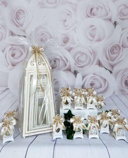 bomboniere lanterne bianca in metallo