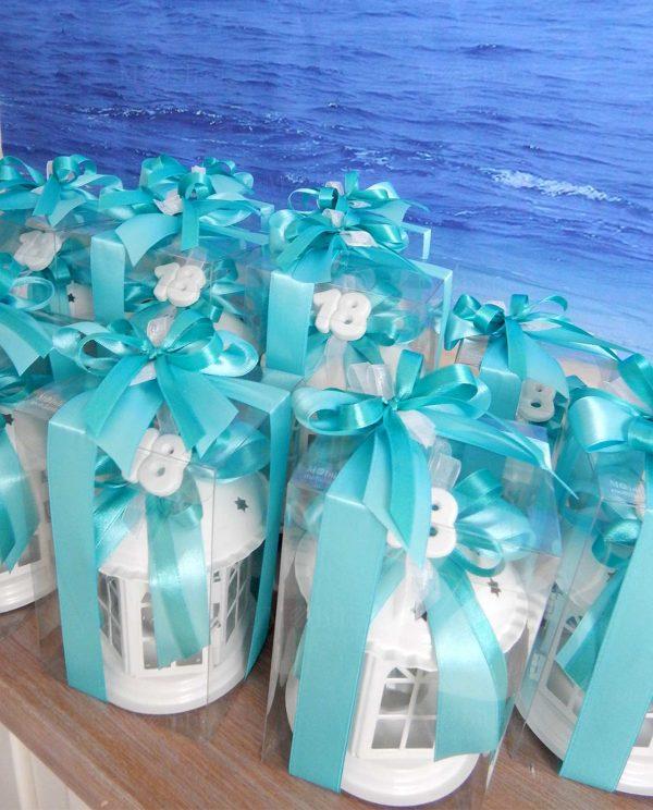 bomboniera lanterna pagoda con gesso 18 confezionata con scatola e nastri tiffany