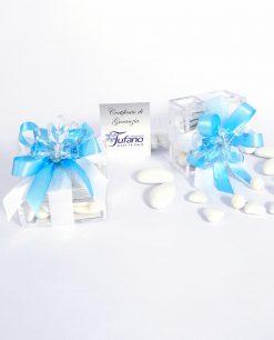 bomboniere online farfalla in cristallo turchese su scatolina tufano