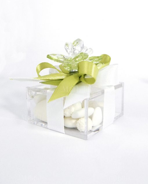 bomboniere online farfalla verde in cristallo swarovski tufano
