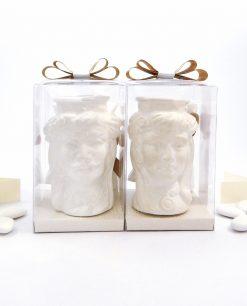 bomboniere teste di moro ceramica bianca di caltagirone