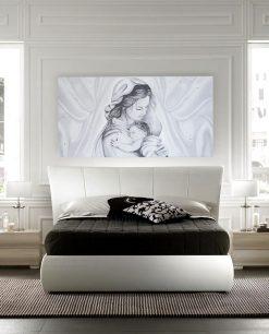 capezzale madonna con bambino su tela con swarosky
